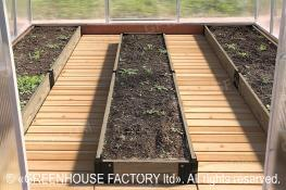 Wooden flooring and beds for a greenhouse